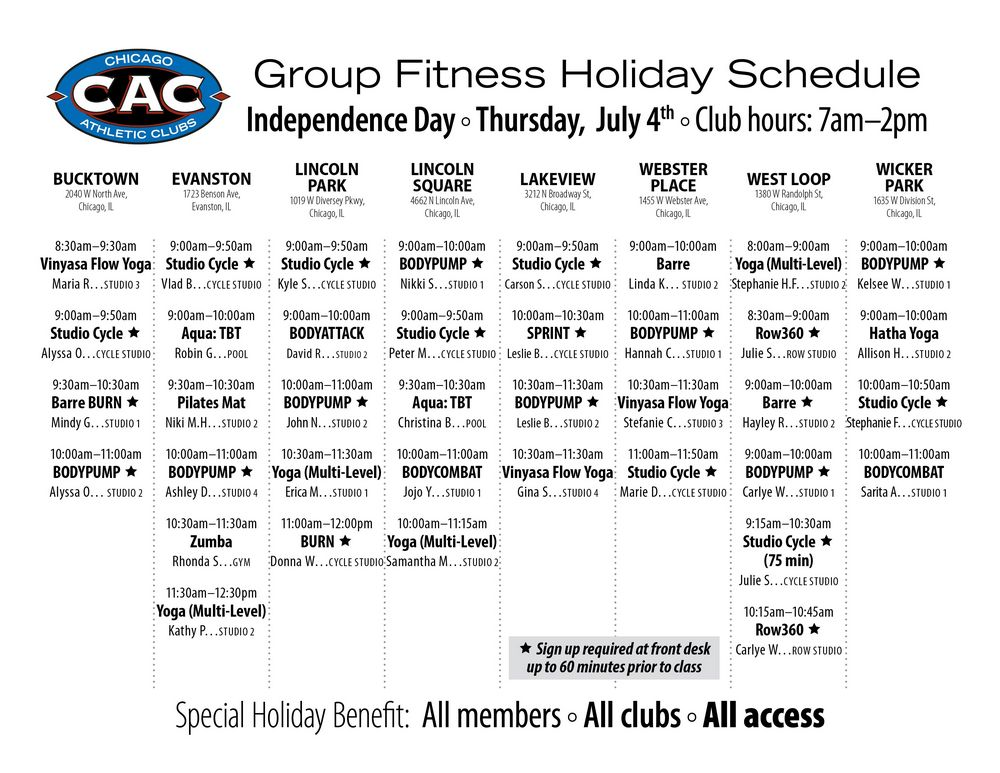 4th of July 2019 group fitness schedule