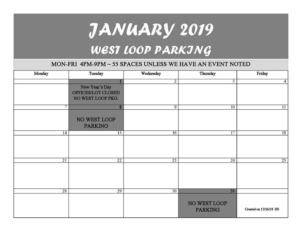 JAN 2019 WEST LOOP CALENDAR