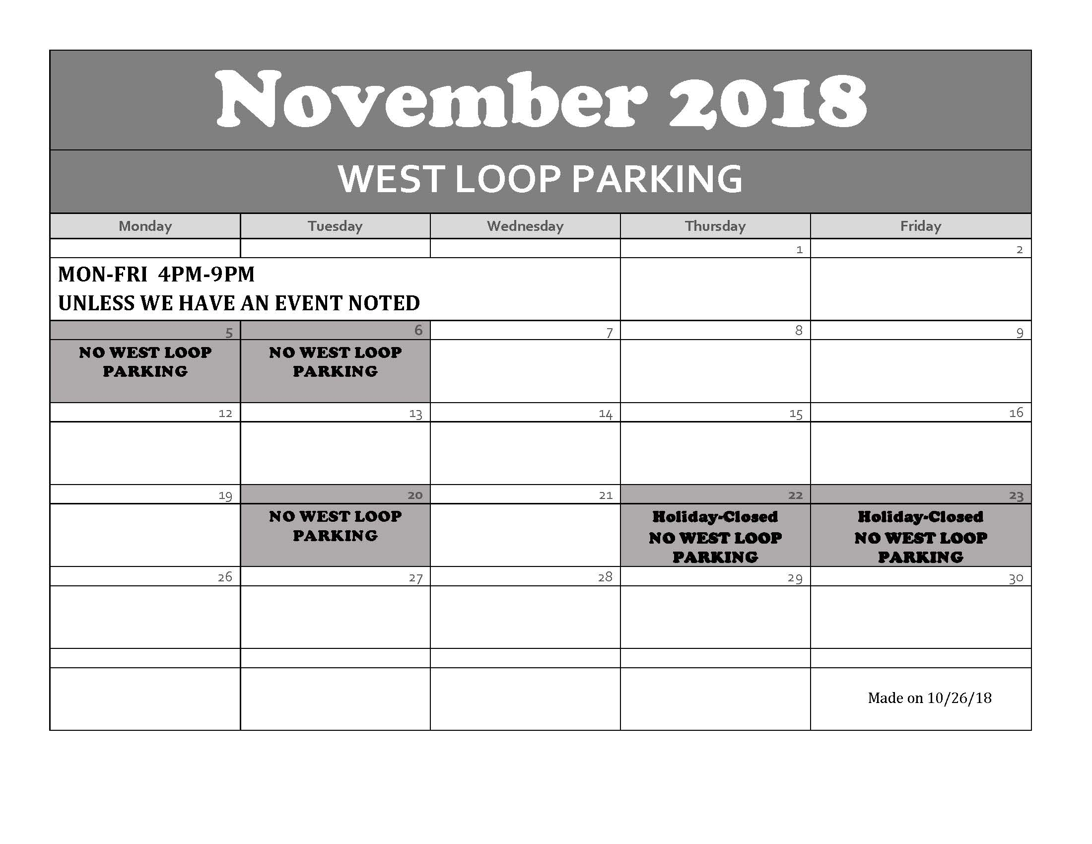 November 2018 WEST LOOP CALENDAR RS PDF
