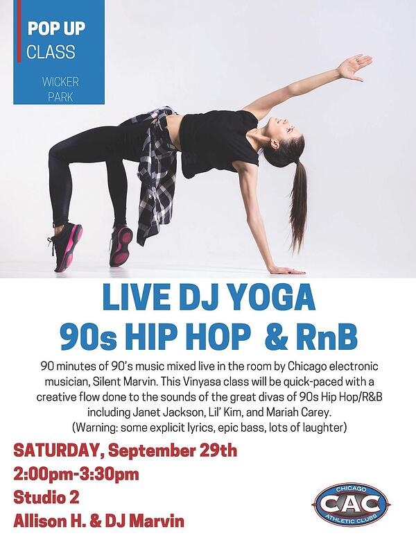 POP UP LIVE DJ YOGA90s HIP HOP & RnB WPAC