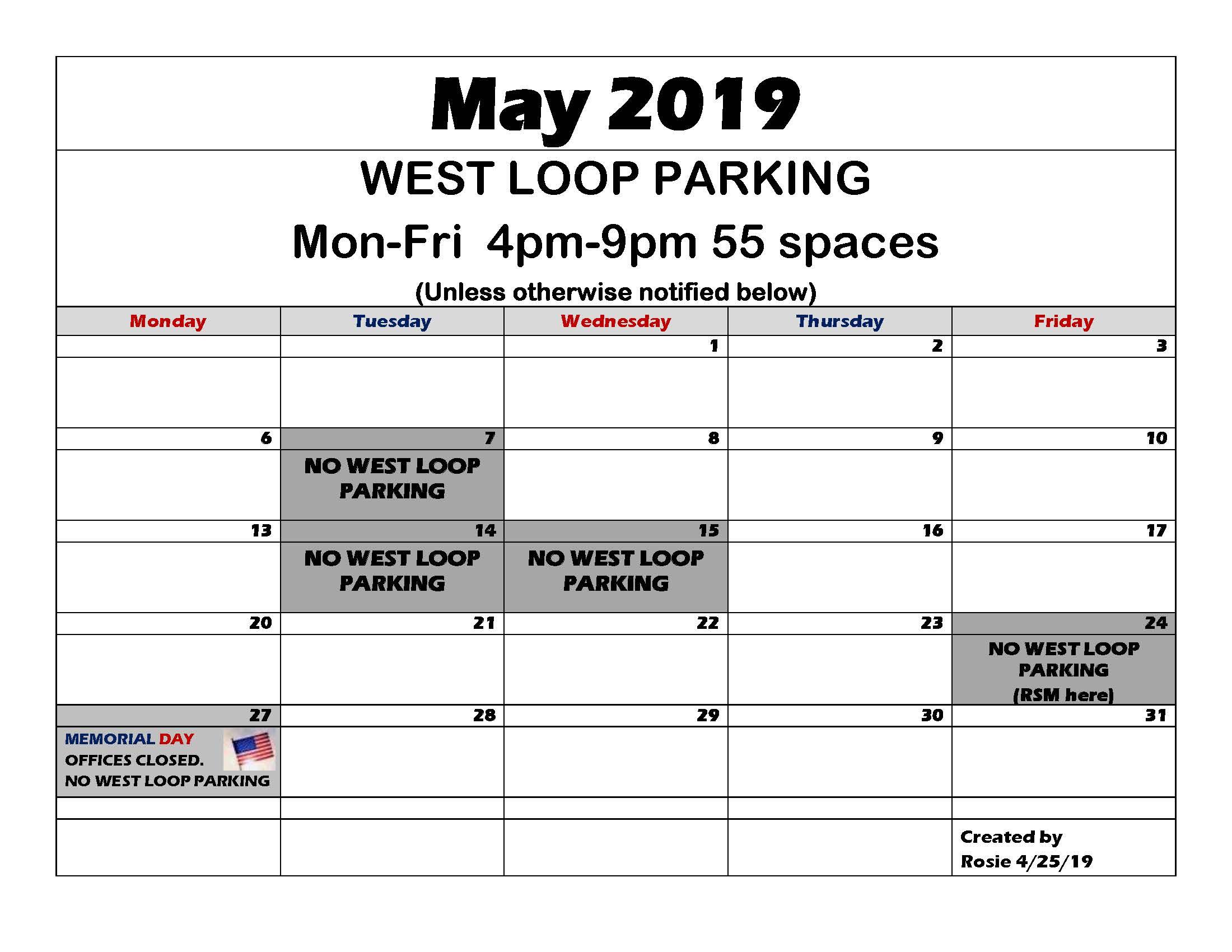 WAC parking May 2019